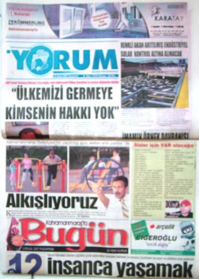 Kahramanmaraş yerel gazete manşetleri