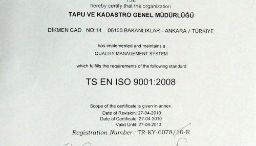 Kahramanmaraş Tapu'ya ISO 9001 belgesi...