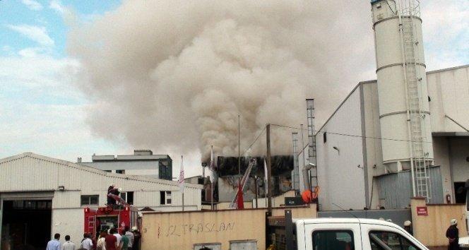 Halı saha çimi üreten fabrikada korkutan yangın!
