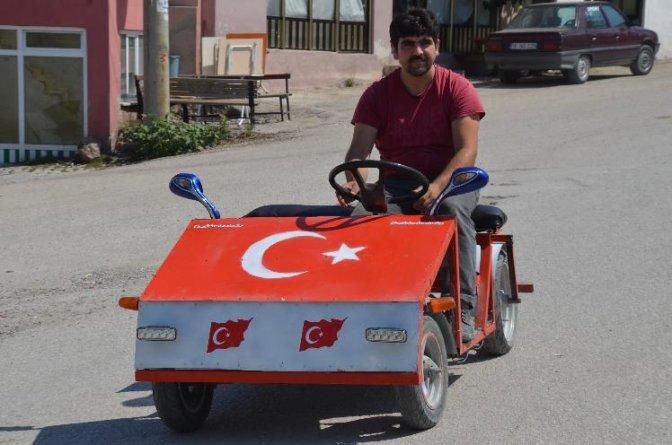 Köy çocukları için al bayraklı yerli otomobil yaptı!