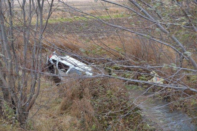 Otomobil sulama kanalına uçtu, anne ve oğlu yaralandı