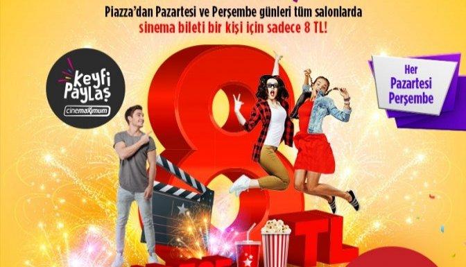 Pazartesi ve perşembe günü sinema bileti 8 lira