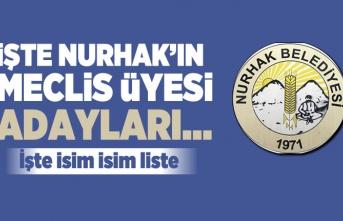 İşte Kahramanmaraş Nurhak Belediyesi'nin Meclis üyesi adayları