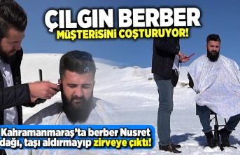 Kahramanmaraş'ta -10 derece dağda saç sakal tıraşı!