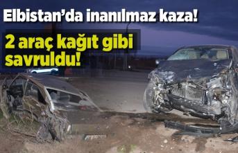 Elbistan'da inanılmaz kaza! 2 araç kağıt gibi...