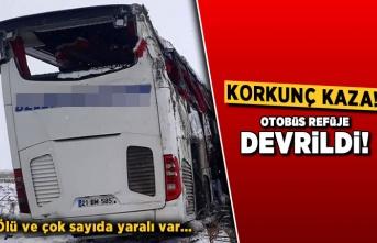 Korkunç kaza! Otobüs refüje devrildi...
