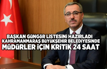 Kahramanmaraş büyükşehir belediyesinde müdürler için kritik 24 saat