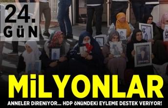 24. gün Milyonlar HDP önündeki eyleme destek veriyor! Anneler direniyor...