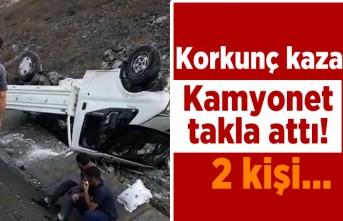 Korkunç kaza! Kamyonet takla attı! 2 kişi...