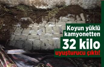Koyun yüklü kamyonetten 32 kilo uyuşturucu çıktı!