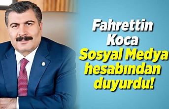 Son dakika haberi: Sağlık Bakanı Fahrettin Koca Sosyal medya hesabından duyurdu!