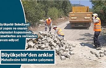 Büyükşehir'den arıklar Mahallesine kilit parke çalışması