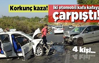 Korkunç kaza! İki otomobil kafa kafaya çarpıştı. 4 kişi....