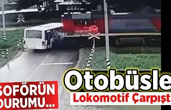 Otobüsle lokomotif çarpıştı