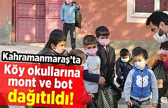 Kahramanmaraş'ta köy okullarına mont ve bot dağıtıldı!