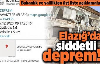 Bakanlık ve valilikten üst üste açıklamalar! Elazığ'da şiddetli deprem!