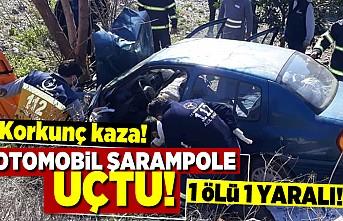 Korkunç kaza! Otomobil şarampole uçtu! 1 ölü 1 yaralı!