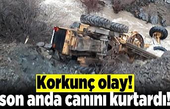Kahramanmaraş'ta korkunç kaza son anda canını kurtardı!