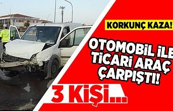 Korkunç kaza! otomobil ile ticari araç çarpıştı! 3 kişi...
