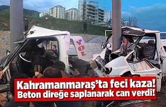Kahramanmaraş'ta çekici beton direğine saplandı! 1 ölü!
