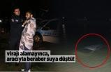 Adana'da virajı alamayan sürücü, aracıyla göle uçtu!