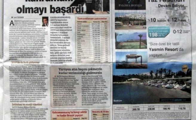 Maraş, 'Hürriyet Ekonomi'ye manşet oldu!
