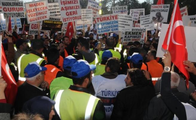 Altın madeni işçileri, Kayseri'de eylem yaptı
