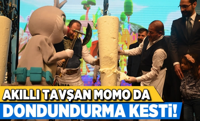 Kahramanmaraş'ta Akıllı Tavşan Momo da dondurma kesti!