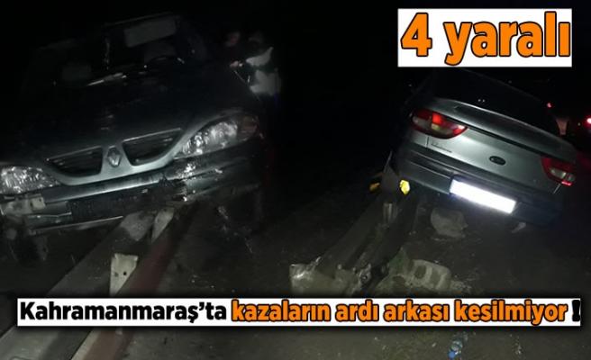 Kahramanmaraş'ta araç refüje çıktı 4 yaralı!