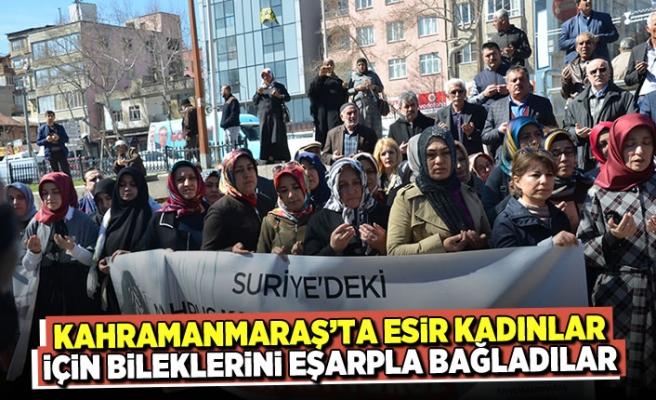 Kahramanmaraş'ta esir kadınlar için bileklerini eşarpla bağladılar
