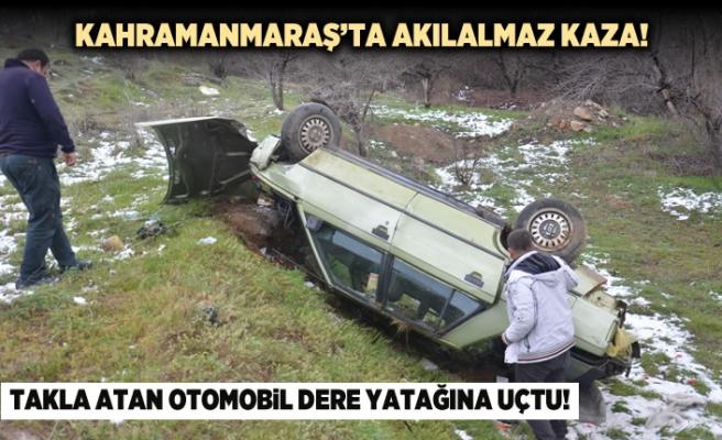 Kahramanmaraş'ta akılalmaz kaza! Takla atan otomobil...