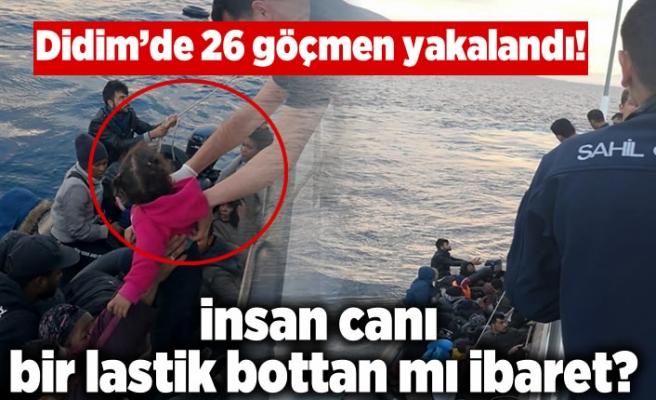 Didim'de 26 göçmen, plastik botun üzerinde yakalandı!