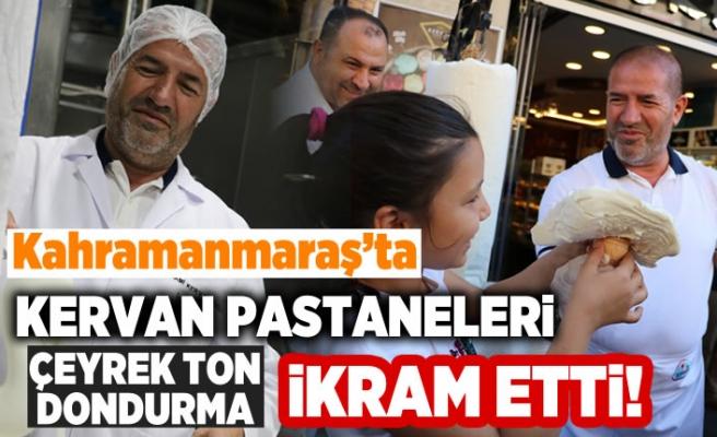 Kahramanmaraş'ta Kervan pastaneleri çeyrek ton dondurma ikram etti!