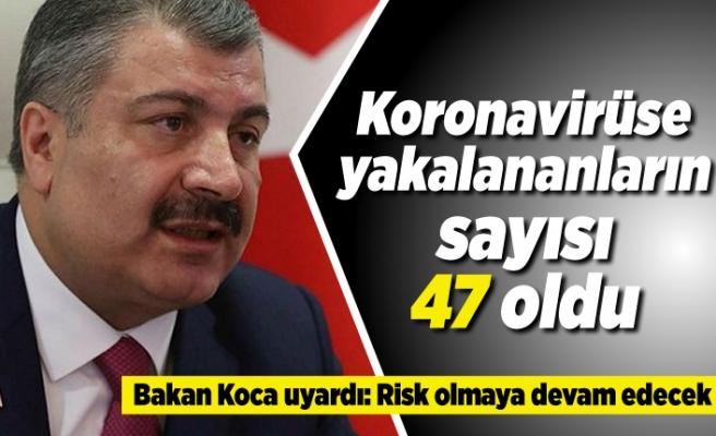 Korona virüse yakalananların sayısı 47 oldu! Bakan Koca uyardı: Risk olmaya devam edecek!