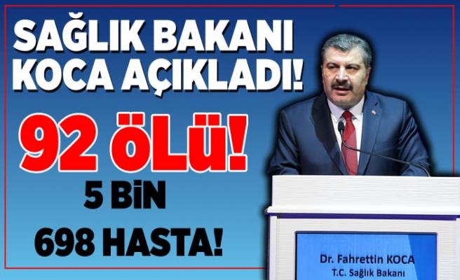 Sağlık Bakanı Koca açıkladı! ''5 Bin 698 Hasta, 92 ölü!''