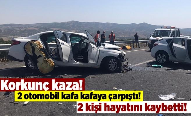 Korkunç kaza! 2 otomobil kafa kafaya çarpıştı! 2 kişi hayatını kaybetti!
