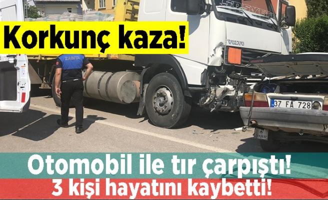 Korkunç kaza! Otomobil ile tır çarpıştı! 3 kişi hayatını kaybetti