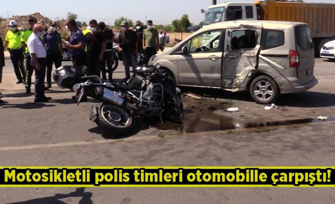 Motosikletli polis timleri otomobille çarpıştı! 2 kişi...