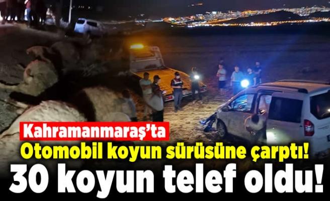 Kahramanmaraş'ta otomobil koyun sürüsüne çarptı!  30 koyun telef oldu!