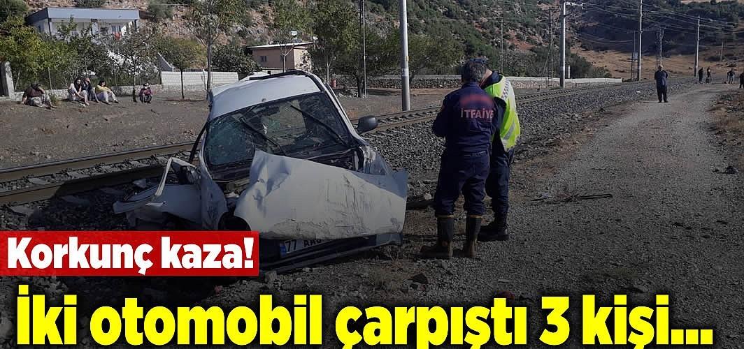 Korkunç kaza! İki otomobil çarpıştı 3 kişi...