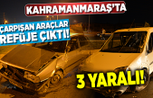 Kahramanmaraş'ta çarpışan araçlar, refüje çıktı!