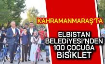 Kahramanmaraş'ta Elbistan Belediyesi'nden 100 çocuğa bisiklet!