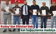 Kızılay'dan Elbistan'daki kan bağışçılarına madalya!