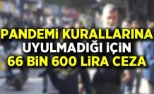 Pandemi kurallarına uyulmadığı için 66 bin 600 lira ceza