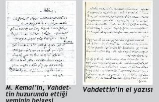İşte Atatürk'ün Vahdettin huzurundaki yemini!