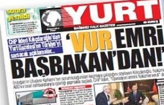 Durdu Özbolat'ın 'Yurt' gazetesi bugün çıktı..