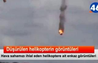 Düşürülen helikopterin görüntüleri