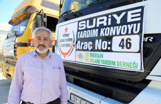 Suriye'ye 46 tır yardım malzemesi