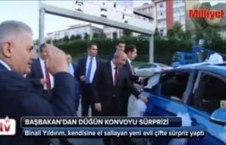 Başbakan Yıldırım'dan düğün konvoyu sürprizi!