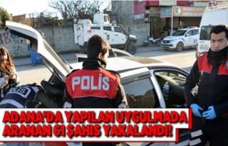 Adana'da yapılan trafik uygulamalarında 61...